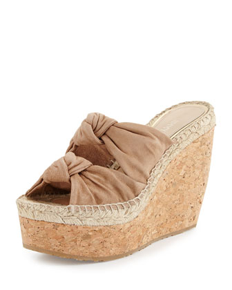 Priory Suede & Cork Wedge, Nude