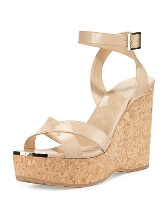 Papyrus Patent Cork Wedge, Nude