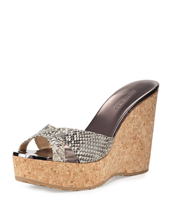 Perfume Snake-Print Wedge Sandal, Natural
