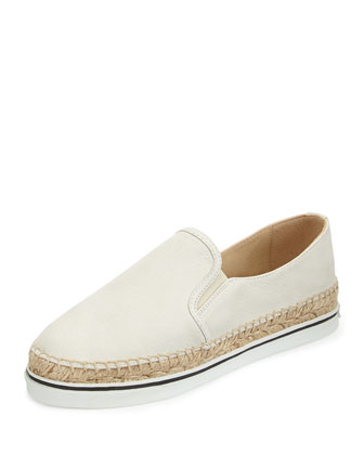 Dawn Leather Espadrille Slip-On, White