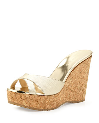 Perfume Metallic Wedge Slide, Champagne