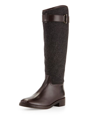 Grace Flannel & Leather Riding Boot, Gray