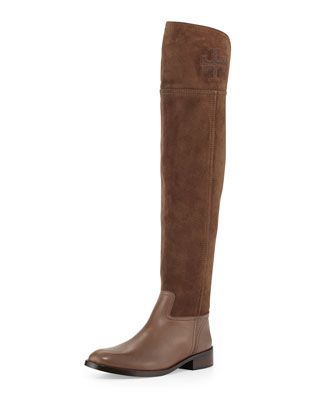 Simone Suede Over-the-Knee Boot, Brown