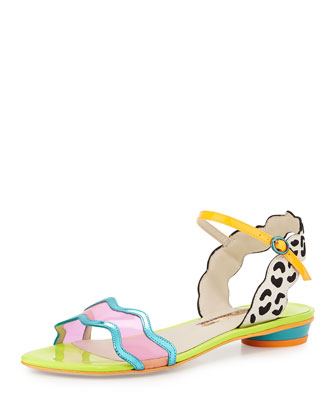 Patti Multicolored Leather Flat Sandal, Eggnog/Black