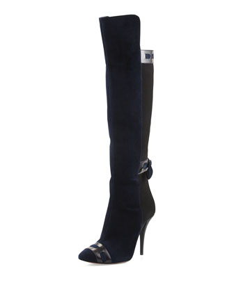 Suede Knee Boot with Back Tie, Navy