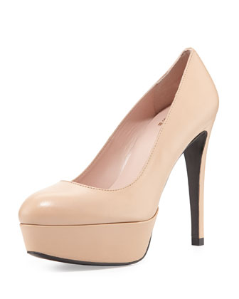 Mae Leather Platform Pump, Adobe