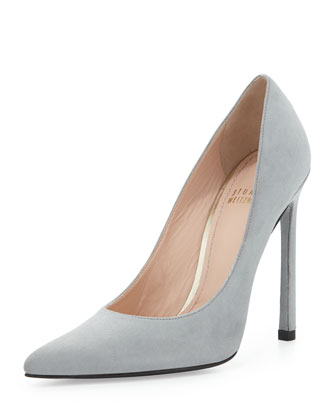 Queen Suede Pointy-Toe Pump, Mist