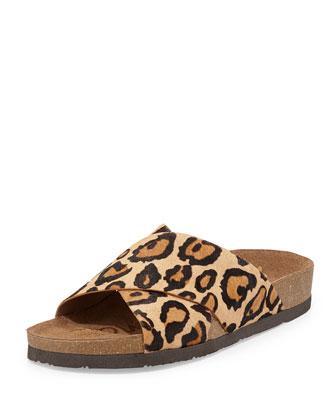 Adora Crisscross Calf Hair Sport Sandal, Leopard