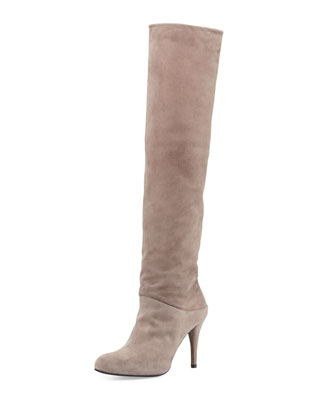 Scrunchy Suede Knee Boot, Topo