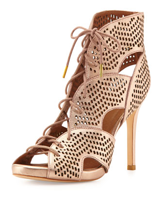 Elvie Metallic Lace-Up Sandal, Rose Gold