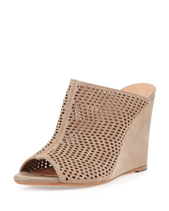 Kellie Perforated Wedge Mule, Putty