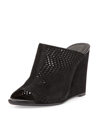 Kellie Perforated Wedge Mule, Black