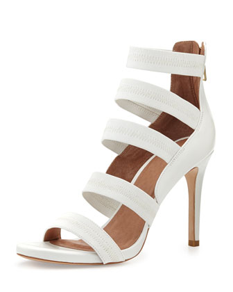 Jana Leather Stretch-Band Sandal, White