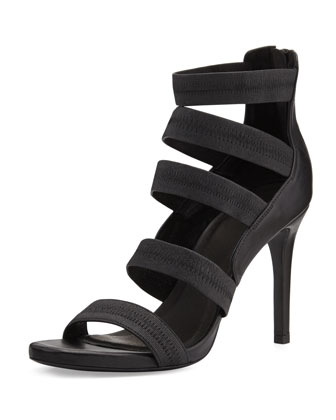 Jana Leather Stretch-Band Sandal, Black