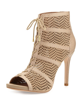 Shari Perforated Lace-Up Bootie, Buff