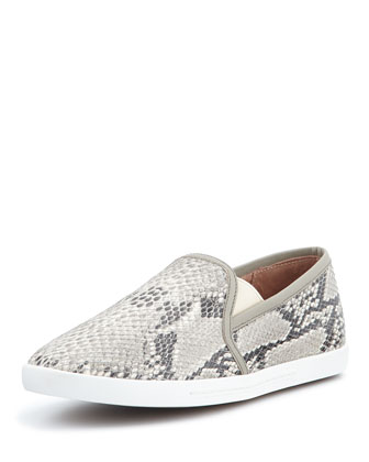 Kidmore Python-Print Slip-On Sneaker, Black/White