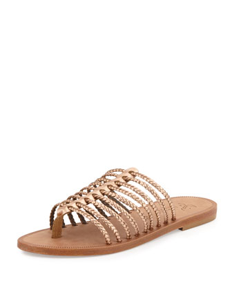Sahara Metallic Gladiator Slide Sandal, Rose Gold