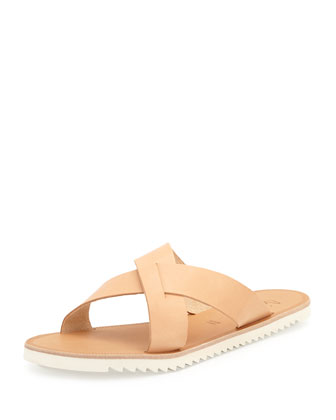 San Remo Leather Crisscross Slide Sandal, Natural