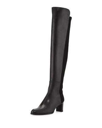 50/50 Mid-Heel Leather & Stretch Boot, Black