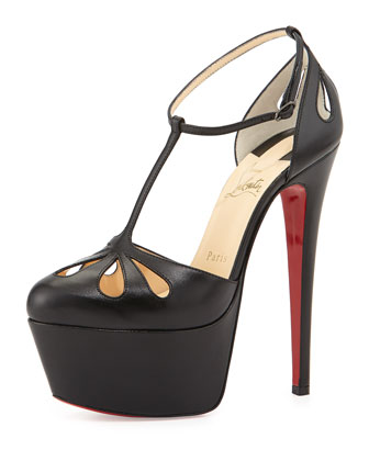 Mayada T-Strap Platform Red Sole Pump, Black