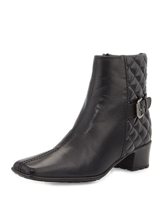 Sally Quilted Leather Bootie, Black