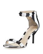 Martini Striped Mid-Heel Sandal, Black/White