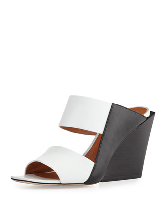 Cara Leather Wedge Slide Sandal, Black/White