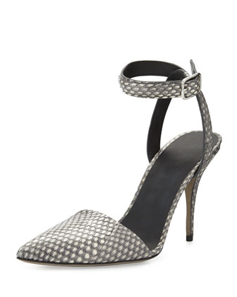 Lovisa Snakeskin Ankle-Wrap Pump, Black/White