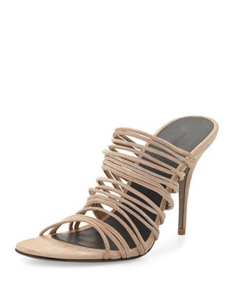 Mathilde Stretch Suede Strappy Sandal, Truffle Beige