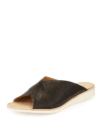 Doobie Leather Crisscross Slide, Black