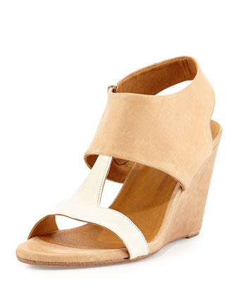 Jojo Leather T-Strap Wedge, Nude