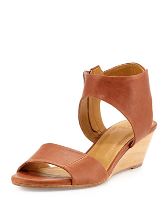 Kiss Leather Demi-Wedge Sandal, Cognac