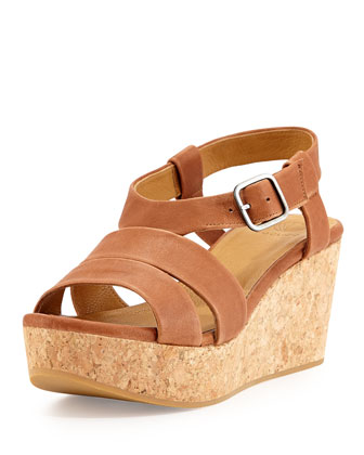 Manga Leather Strappy Wedge, Camel
