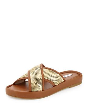 Sarita Chain-Mesh Crisscross Slide Sandal, Umber