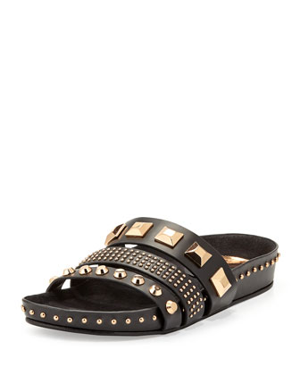 Tank Studded Leather Sandal, Black