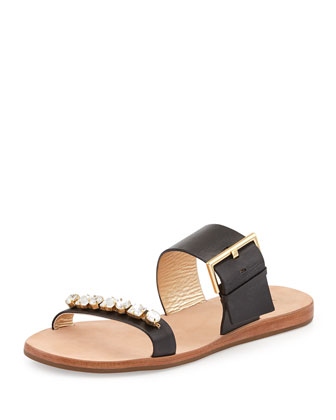 astra buckled slide sandal, black