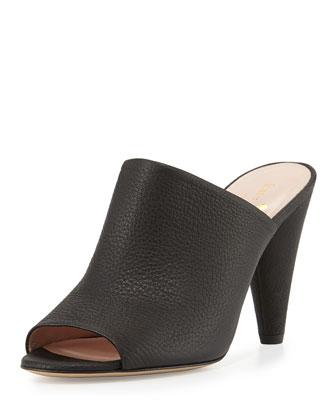 bova peep-toe cone-heel mule, black