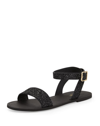 coney glitter ankle-wrap sandal, black