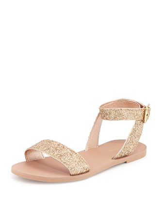 coney glitter ankle-wrap sandal, rose gold