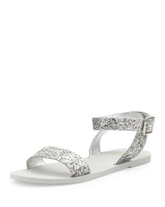 coney glitter flat sandal, silver