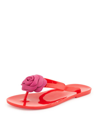 fayette flower jelly thong sandal, red