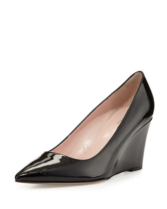 jovia pointy-toe saffiano patent wedge pump