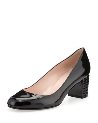 mahina patent mid-heel pump, black