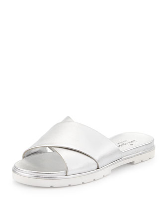 markey metallic crisscross sandal, silver