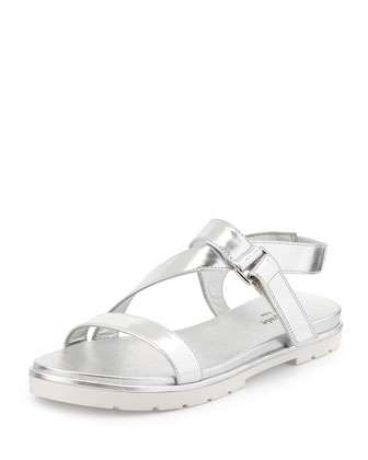 mckee patent sport sandal, silver