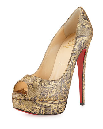 Lady Peep Brocade Red Sole Pump, Bronze