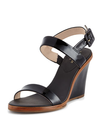 nice patent wedge sandal, black