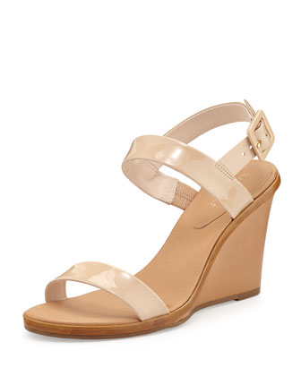 nice patent wedge sandal, powder
