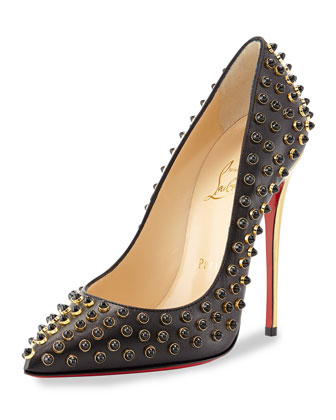 Follies Cabo Studded Red Sole Pump, Black