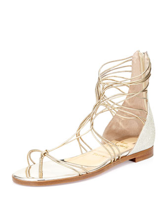 Blanca Metallic Gladiator Sandal, Light Gold/Ivory